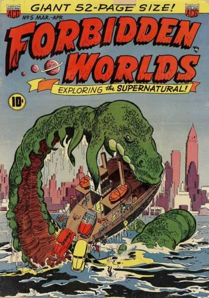 Forbidden Worlds 5 - Monster - Automobiles Falling - Giant - City - Ferry