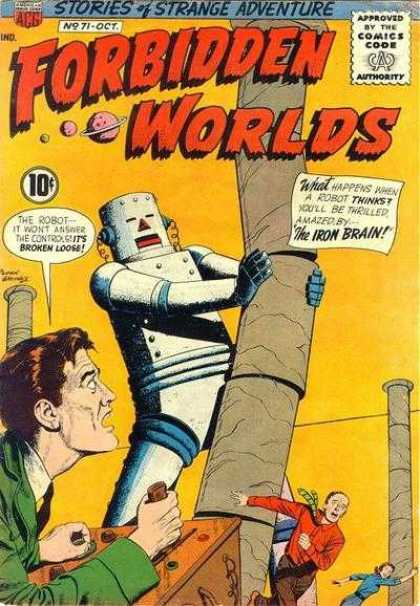 Forbidden Worlds 71 - The Iron Brain - Stories Of Strange Adventure - Robot - Disaster - Golden Age