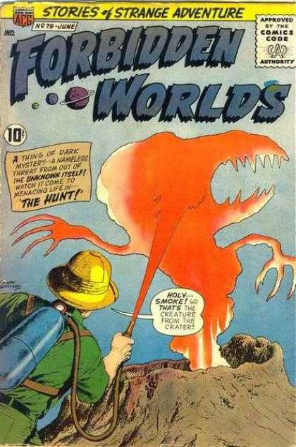 Forbidden Worlds 79 - Monster - Volcano - Hunter - Yellow - Hat
