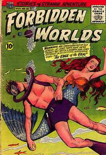 Forbidden Worlds 84 - Scuba - Mermaid - Man - Redhead - Fish Tail