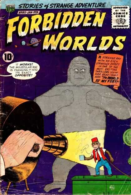 Forbidden Worlds 85 - Gorilla - Stories Of Strange Adventure - Approved By The Comics Code - Planet - Ape