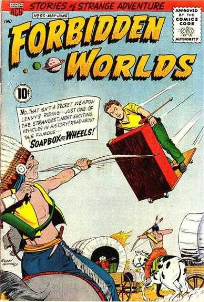 Forbidden Worlds 95 - Stories Of Strange Adventure - Indians - Covered Wagons