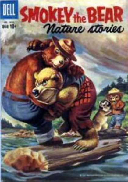 Four Color 1016 - Nature Stories - Bears - Blue Pants - Log - Water