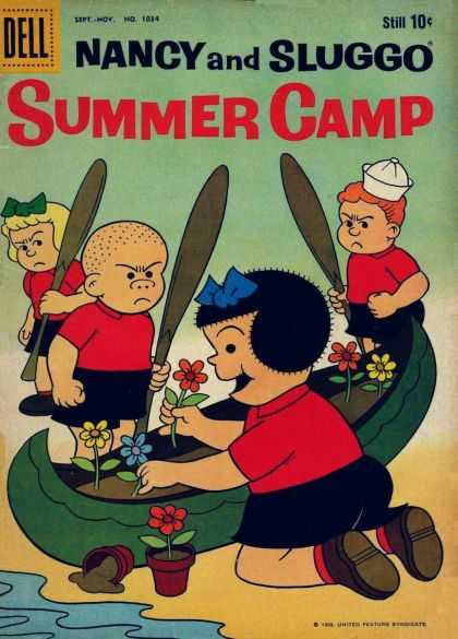 Four Color 1034 - Nancy And Sluggo - Summer Camp - Angry Campers - Canoe Garden - 10 Cent Comic