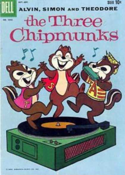 Four Color 1042 - Alvin Simon And Theodore - Three Chipmunks - Music Player - Dancing - Harmonica