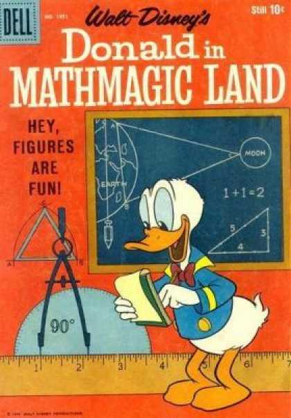 Four Color 1051 - Donald Duck - Chalk Board - Math - Ruler - Compass