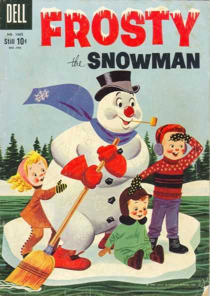 Four Color 1065 - Frosty Snowman - Kids - Floting Iceberg - Dell - Snowman With Broom
