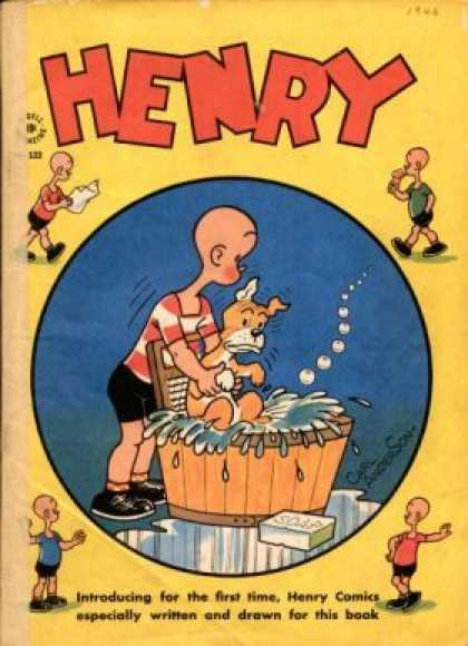 Four Color 122 - Bald Headed Henry - Poor Dog - Things You Shouldnt Do With A Washboard - How To Torment A Dog - Mischief And Mayhem Dont Do This At Home