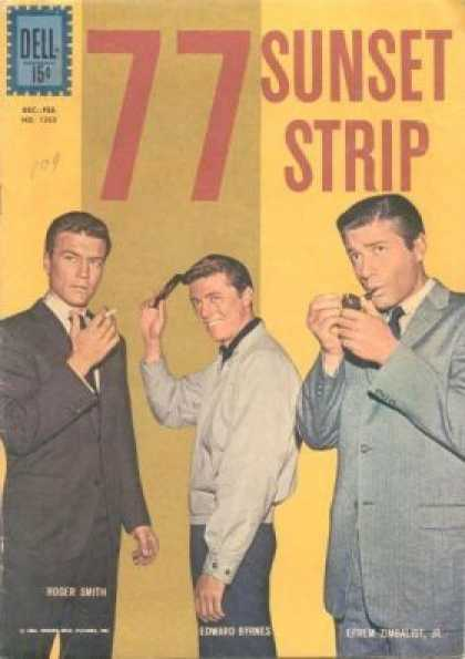 Four Color 1263 - 77 Sunset Strip - Man With Pipe - Man With Comb - Man With Cigarette - Yellow Background
