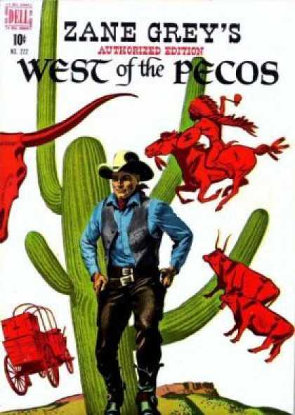 Four Color 222 - Dell - Zane Grey - West Of The Pecos - Cowboy - Guns