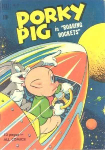 Four Color 322 - Bugs Bunny - Space Ship - Planet - Roaring Rockets - Outer Space