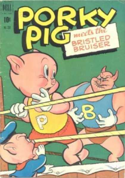 Four Color 330 - Porky Pig - Bristled Bruiser - Wrestling - On The Ropes - White Gloves