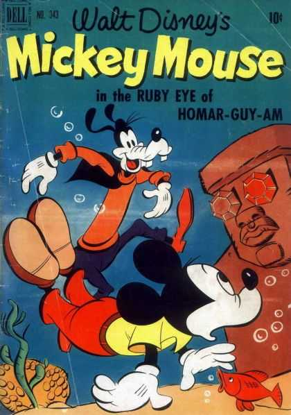 Four Color 343 - Mickey Mouse - Rubey Eye Of Homar-guy-am - Goofy - Fish - Water