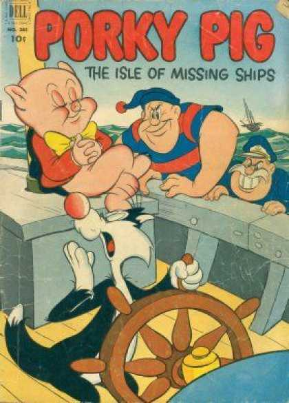 Four Color 385 - Napping Pig - Sylvester The Cat - Ships - Wheel - Pirates Boarding
