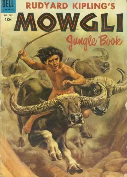 Four Color 582 - Rudyard Kipling - Riding Buffalo - Boy - Jungle Book - Mowgli