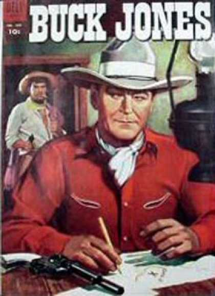 Four Color 589 - Buck Jones - Cowboy Cowboy Hat - Gun - Map - Table