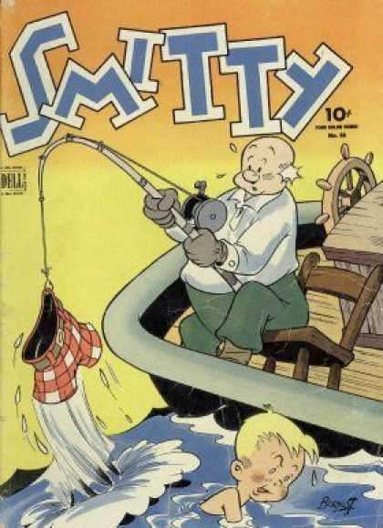 Four Color 65 - Smitty - Dell - 10 Cent Comic - Fishing Accident - Lost Shorts