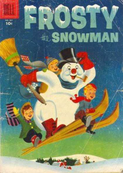 Four Color 661 - Snow Man - Frosty - Dell - Broom - Skiing
