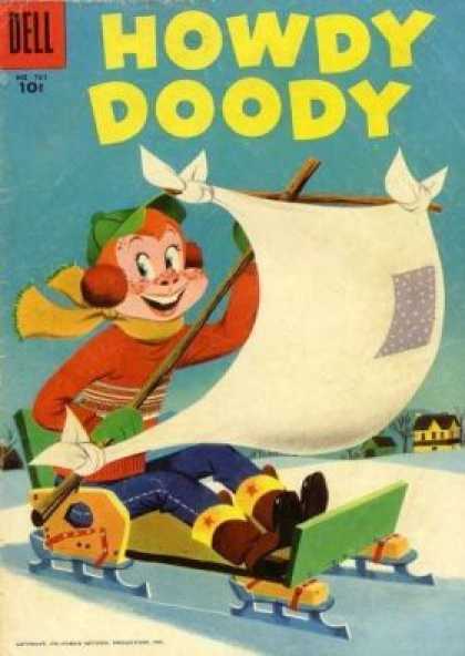 Four Color 761 - Howdy Doody On A Sled - Howdy Doody Winter - Sailboat Sled - Snow - Howdy Doody In The Cold