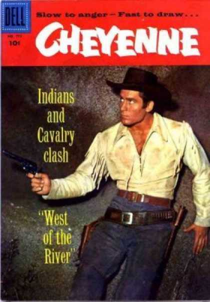 Four Color 772 - Slow To Anger - Fast To Draw - Indians And Calvaly Clash - West Of The Rivive - Gunslinger