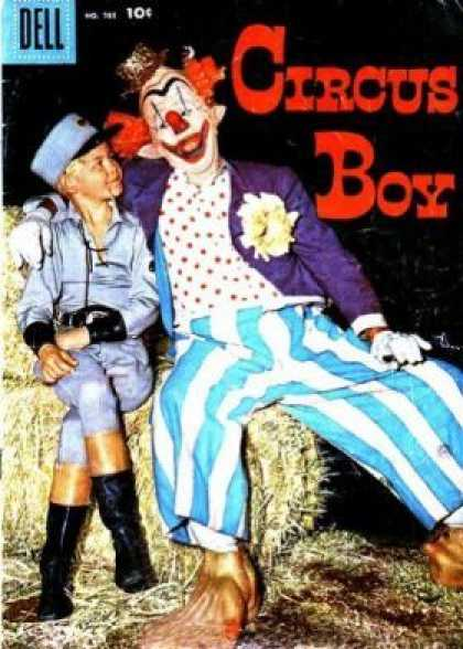 Four Color 785 - Clown - Young Boy - Hay Bale - Blue Striped Pants - Red Hair
