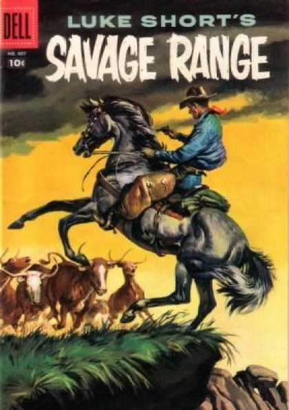 Four Color 807 - Dell - Dell Comics - Savage Range - Horse - Bulls