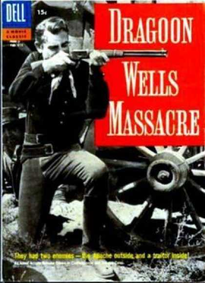 Four Color 815 - Dragon Wells Massacre - Cowboy - Rifle - Spoked Wheel - Kneeling