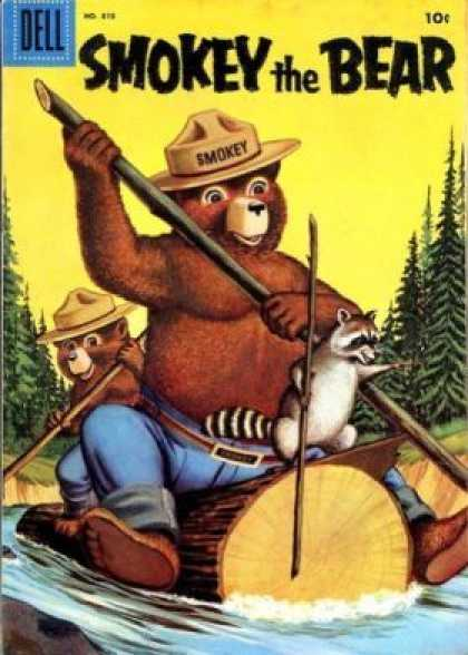 Four Color 818 - Park Ranger - Bear - Log Raft - Raccoon - River