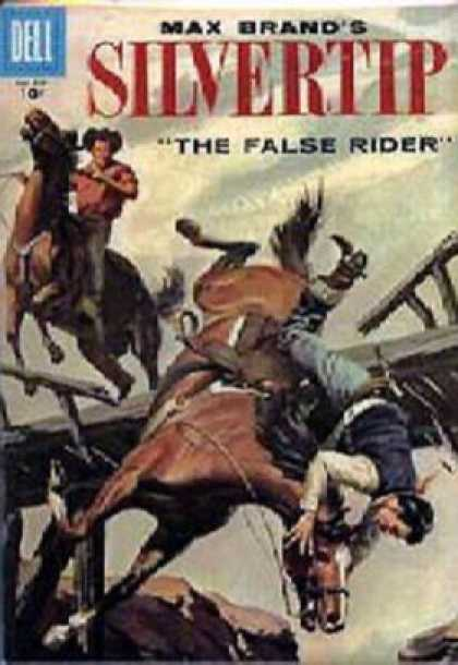 Four Color 835 - The False Rider - Horse - Bridge - Fall - Cowboys