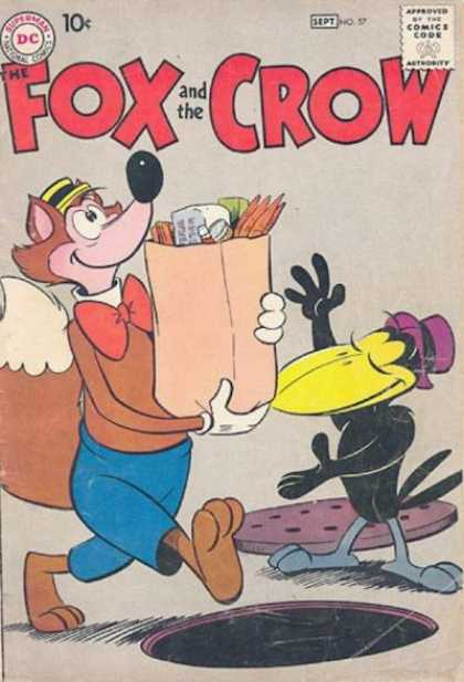 Fox and the Crow 57 - Manhole - Grocery Bag - Bow Tie - Walking - Mischievous