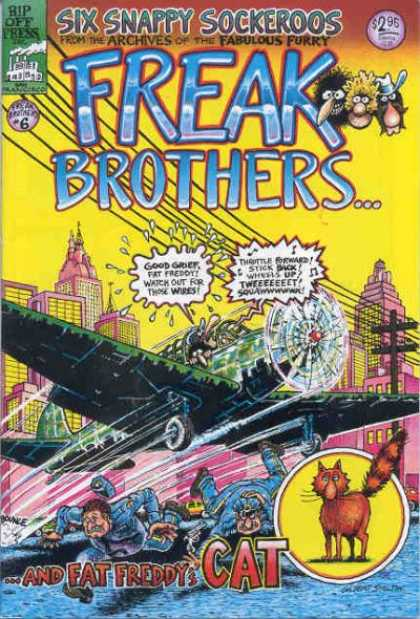 Freak Brothers 6 - Plane - Fly - Wire - Run - People