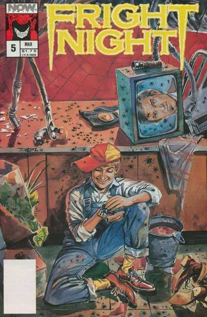 Fright Night 5 - Now Comics - Insects - Smiling Boy - Spider - Toppled Television