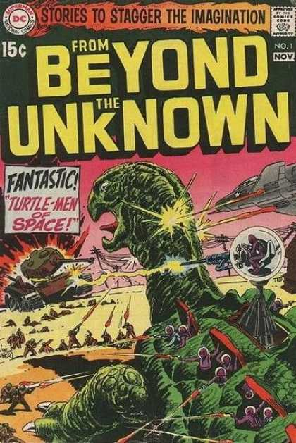 From Beyond the Unknown 1 - Tank - Stories To Stagger The Imagination - Turtle-men Of Space - Space Ship - Guns - Joe Kubert