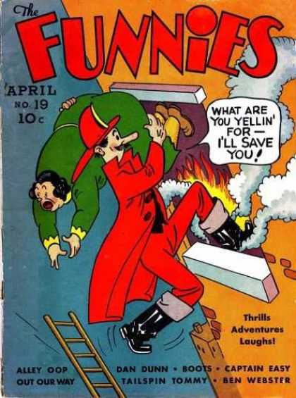 Funnies 19 - Fire - Fireman - Tailspin Tommy - Dan Dunn - Captain Easy