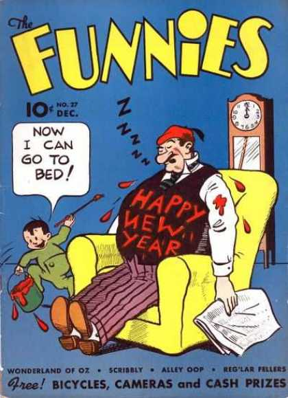 Funnies 27 - Happy New Year - Yellow Chair - Paint - Clock - Little Boy