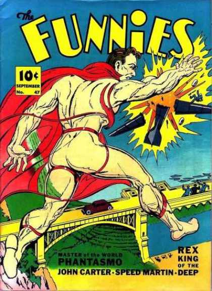 Funnies 47 - Naked Man - Airplane - Explosion - Bridge - Red Cape