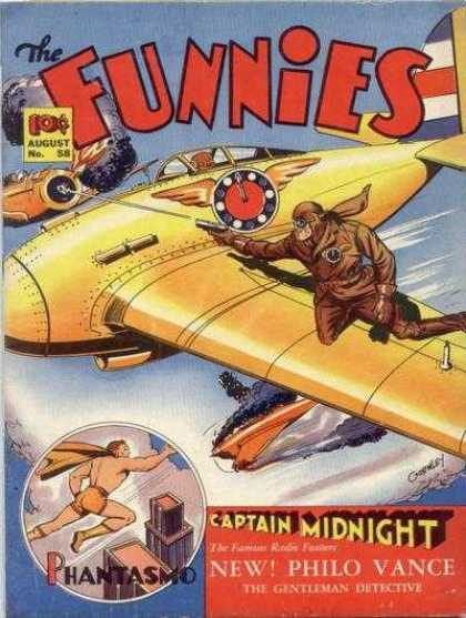 Funnies 58 - Captain Midnight - Sky - Phantasmo - Air Plane - Dog Fight