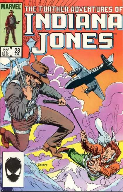 Further Adventures of Indiana Jones 28 - Airplane - Purple Clouds - Whip - Cowboy Hat - Parachute