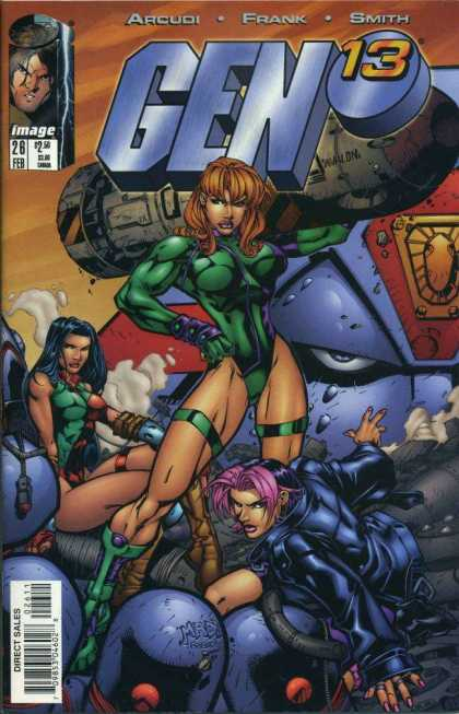 Gen13 26 - Smoke - Large Hand - Super Heros - Black Jacket - Red Sky - Joe Madureira