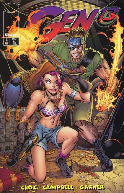 Gen13 4 - Pirates - Burning Hands And Flaming Sword - Gloves And Gun - The Hawk - Gold Coins - Alex Garner