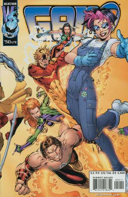 Gen13 50 - Wildstorm - Blue Overalls - Pink Hair - Feather - White Shirt - Ed Benes