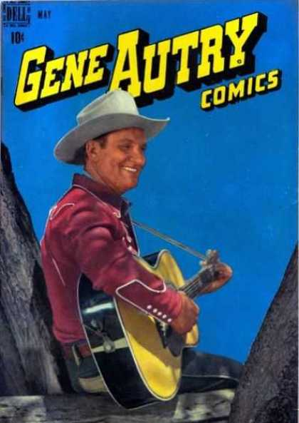 Gene Autry Comics 15 - Dell - Guitar - Sitting - Cowboy - Singing