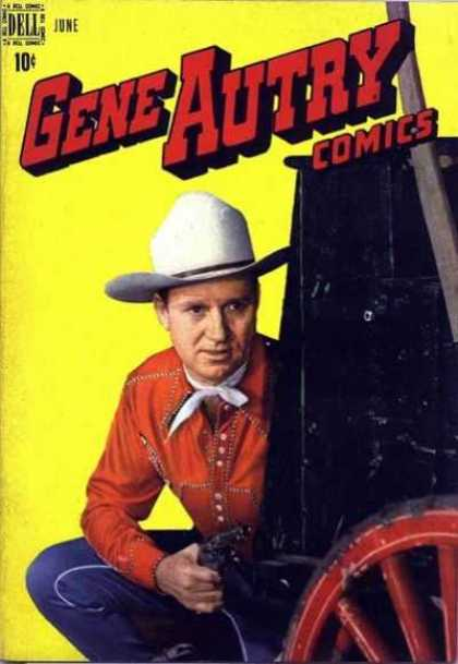 Gene Autry Comics 16 - Carriage - Red Wagon Wheel - White Cowboy Hat - Red Shirt - Revolver