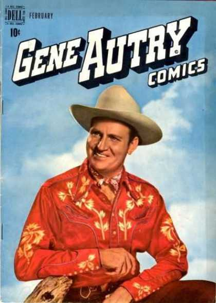 Gene Autry Comics 24 - Cowboy - Red Shirt - Blue Sky - Clouds - Smiling Man