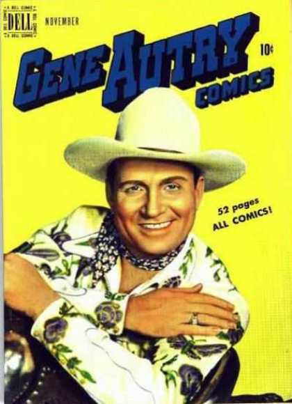 Gene Autry Comics 33 - Cowboy Hat - Flower Shirt - Smile - Neckerchief - Camp