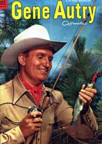 Gene Autry Comics 76 - Fishing Pole - Cowboy - Fish - Red Scarf - White Cowboy Hat