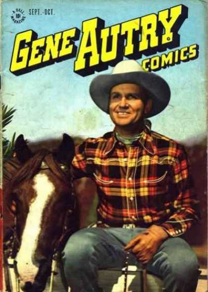 Gene Autry Comics 9 - Cowboy - Hat - Horse - Sept - Plaid Shirt