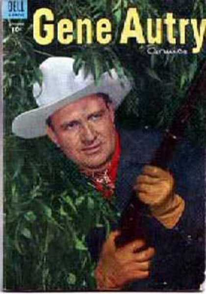 Gene Autry Comics 91 - Dell - Hat - Gun - Forest - Ready For Attack