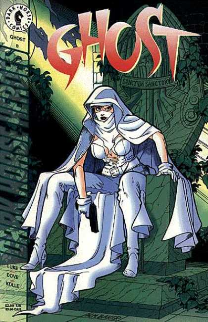 Ghost 8 - Female Hero - White Outfit - Throne - Dark Horse Comics - Gun