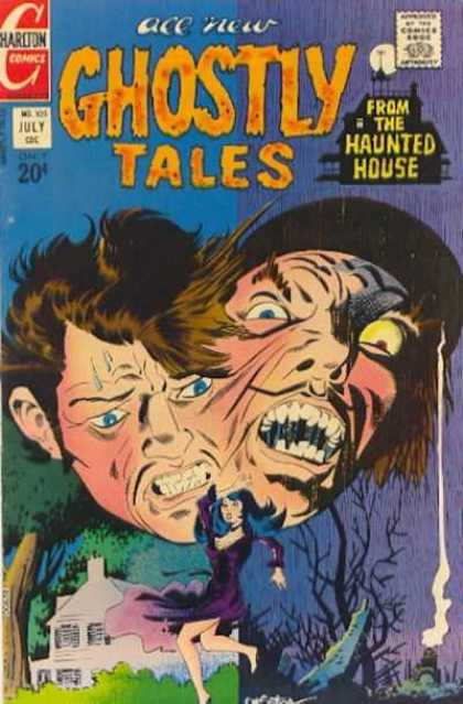 Ghostly Tales 105 - Harlton Comics - From The Haunted House - Comics Code - Face - Monster